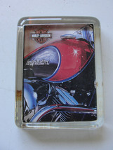 Harley-Davidson glass rectangle paperweight, red engine with flames - $23.70