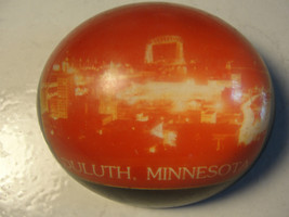 OLD DULUTH,MINNESOTA LUCITE ADVERTISING DESK PAPERWIEGHT,CITY PHOTO,DOME... - $35.15