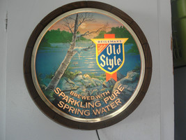 Old Style faux 1/2 barrel lighted sign, lake scene with trees, rocks, ol... - $84.79