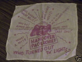 PRE 1930'S HANGOVER PAC-ERCHIEF,WITH FUNNY SAYING BEER - $16.15