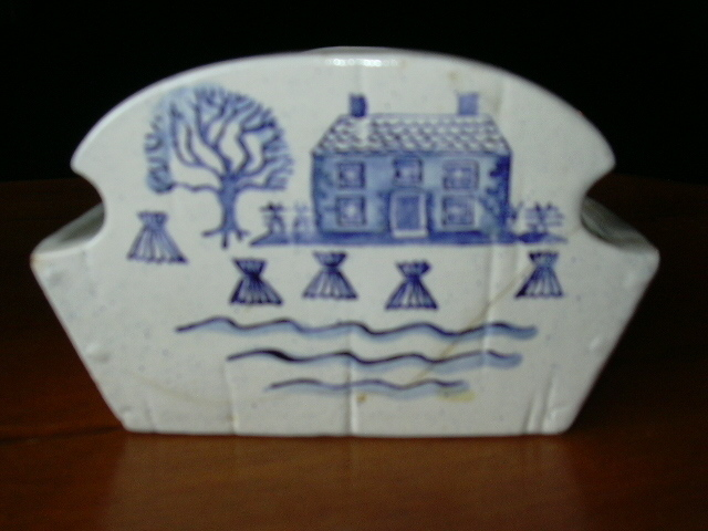 RARE Metlox Poppytrail Provincial Blue BREAD SERVER and MATCHBOX; 1950, repaired