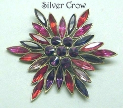 Vintage Rhinestone Red & Purple Starburst Brooch Pin - $30.99