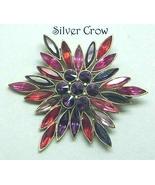 Vintage Rhinestone Red & Purple Starburst Brooch Pin - $30.99