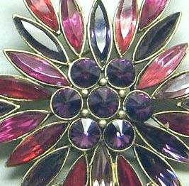 Vintage Rhinestone Red & Purple Starburst Brooch Pin
