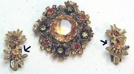 Vintage Amber Rhinestone & Gold Tone Brooch & Earring Set - $17.99