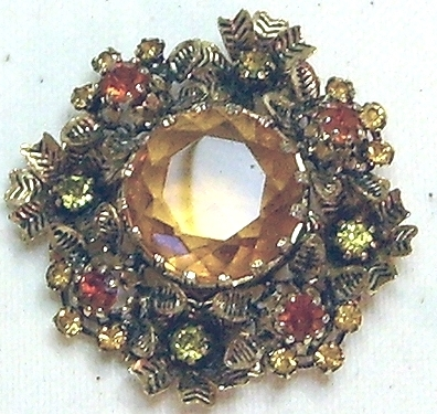Vintage Amber Rhinestone & Gold Tone Brooch & Earring Set