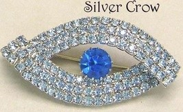 Vintage Light Blue Rhinestone Oval Brooch Pin with Dark Blue Center Rhin... - $20.99