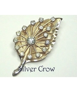 Gold tone Leaf Pin Brooch with Overlay Spray of Clear Rhinestones - $15.99