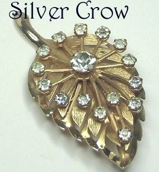 Gold tone Leaf Pin Brooch with Overlay Spray of Clear Rhinestones