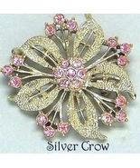 Vintage Pink Rhinestone Goldtone Floral Pin - $11.99