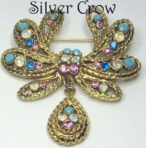 Multi Color Rhinestone Gold Tone Pin Brooch with Teardrop Dangle  - $14.99