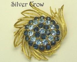 Vintage Lisner Light & Dark Blue Rhinestone, Gold Tone Brooch Pin - $21.99