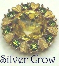 Vintage Gold Tone Hearts and Rhinestone Pendant Pin Brooch Avon - $11.99