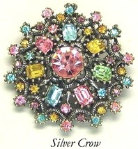 Vintage Coro Multi Color Rhinestone Brooch Pin Pink Blue Yellow Green Purple - $58.99