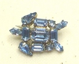 Vintage Blue Rhinestone Silver Tone Turtle Pin Brooch Austria - $17.99