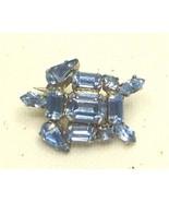 Vintage Blue Rhinestone Silver Tone Turtle Pin ... - $17.99
