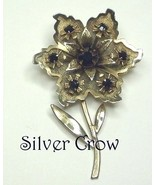 Floral Brooch Pin in Gold Tone with Black Rhinestones - $15.99