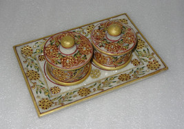 """9"""" Marble Jaipur Hand Painted Gold Handmade Bowl Tray Set For Dry Fruit Decor - $129.64"""