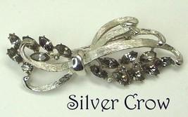 BSK Silver Tone Pin Bow Brooch with Smoky Gray Rhinestones - $14.99
