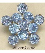 Vintage Sapphire Blue Rhinestone Brooch Pin & Earring Set - $12.99