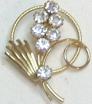 Vintage Rhinestone & Gold Tone Floral Brooch Pin - $12.99