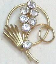 Vintage Rhinestone & Gold Tone Floral Brooch Pin - $12.99