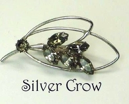 Silver Tone Leaf Shaped Pin Brooch with Smoky Gray Rhinestones - $11.99