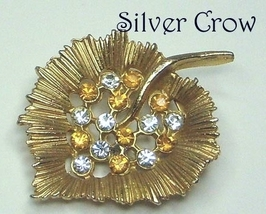 Rhinestone Heart Shaped Leaf Pin Brooch Pendant Topaz & Clear Rhinestones - $11.99