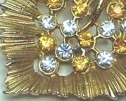 Rhinestone Heart Shaped Leaf Pin Brooch Pendant Topaz & Clear Rhinestones