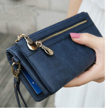 Women's Wallets Dull Polish Leather Double Zipper Wristlet Card Holder - $21.99