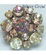 Vintage AB Rhinestone Beige & Pink Tones Brooch Pin - $9.99