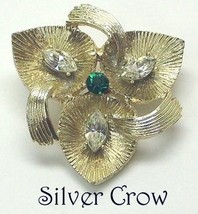 Gold Tone & Rhinestone Triple Leaf & Ribbon Pin Brooch - $4.99