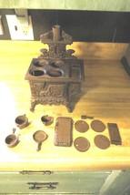 salesmen sample cast iron stove & pots pans lids stove pipe burners side... - $118.75