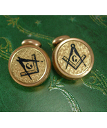 Antique Masonic cuff links Vintage Fraternal Enamel Cufflinks Mason G Br... - $245.00