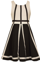 Big Girls Tween 7-16 Black White Geometric Colorblock Fit Flare Dress