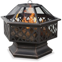 Outdoor Wood Burning Fire Pit Fireplace Patio Deck Heating Steel Unique ... - £149.20 GBP