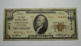 $10 1929 Emlenton Pennsylvania PA National Currency Bank Note Bill! Ch. ... - $233.74