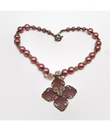 Chunky Bronze Rose Beaded Flower Pendant Necklace - $21.34