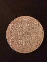 "FRANKOMA Pottery INDIAN OKLAHOMA TRIBES  6"" PLATE Trivet White OK3 Mcm - $22.44"
