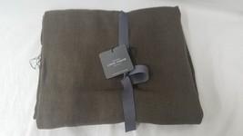 Restoration Hardware Vintage Linen Fringed Throw Blanket Chocolate Brown  - $94.95