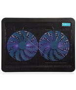 Laptop Cooling Pad Cooler 2 Fan Blue LED Dual 160mm Fans USB Port 15-17 ... - €52,59 EUR