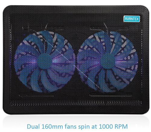 Laptop Cooling Pad Cooler 2 Fan Blue LED Dual 160mm Fans USB Port 15-17 Inches