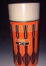 Thermos 1971 Orange Brown Vacuum Bottle Pint size Vtg Wide Mouth - $22.44