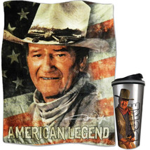 (Set) John Wayne The Duke Travel Tumbler And American Legend Throw Blanket - $42.97