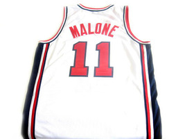 Karl Malone #11 Team USA BasketBall Jersey White Any Size image 2
