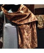 Handmade Vintage Amber And Black Paisley Velvet Shawl Wrap Scarf - $42.08