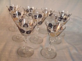 """(9) VTG Libbey """"OLD COINS"""" Black and Gold Cordial/Martini/Wine Glasses ~ MINTY ! - $34.65"""