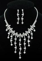 Wedding Bridal Crystal Rhinestone Necklace Earrings Set  - $29.99