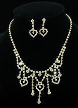 Wedding Bridal Gold Hearts Crystal Necklace Earrings Set - $29.99