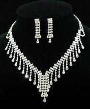 Wedding Clear Crystal Rhinestone Necklace Earrings Set  - $30.99